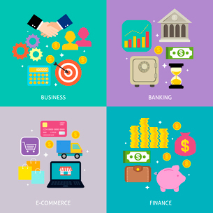 Business process concept of banking e-commerce shopping finance flat icons set vector illustrationのイラスト素材 [FYI03092457]