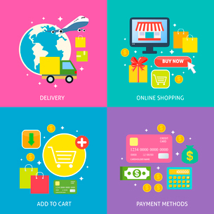 Business process concept of online internet shopping payment delivery flat icons set vector illustraのイラスト素材 [FYI03092458]