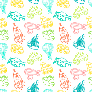 Toy transport outline seamless pattern with car airplane space rocket boat vector illustrationのイラスト素材 [FYI03092459]