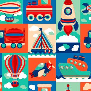 Toy transport cartoon seamless pattern with airplane aerostat sail yacht vector illustrationのイラスト素材 [FYI03092460]