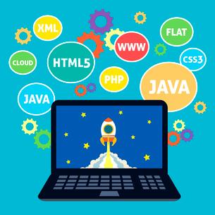 Websites web design xml java html5 coding computer concept vector illustrationのイラスト素材 [FYI03092463]