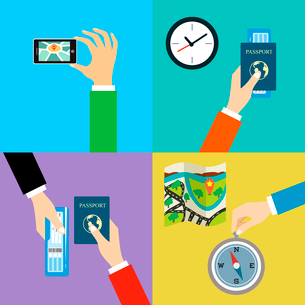 Business hands gestures travel design elements isolated vector illustrationのイラスト素材 [FYI03092465]