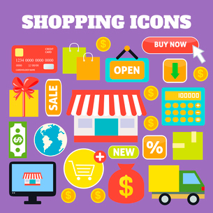Shopping decorative icons set with plastic card money bags isolated vector illustrationのイラスト素材 [FYI03092466]