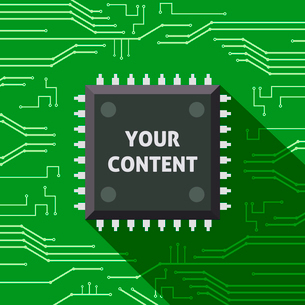 Your content microchip computer electronics cpu flat background vector illustrationのイラスト素材 [FYI03092467]