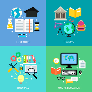 Business education concept training tutorial reading discussion online flat icons set isolated vectoのイラスト素材 [FYI03092469]