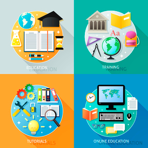 Business education concept training tutorial online icons set isolated vector illustrationのイラスト素材 [FYI03092470]
