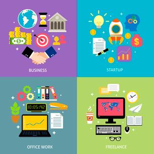 Business workflow types concept startup office work process freelance icons set flat isolated vectorのイラスト素材 [FYI03092471]