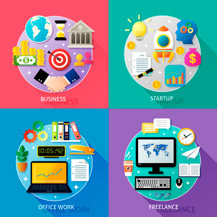 Business types concept startup office work freelance icons set isolated vector illustrationのイラスト素材 [FYI03092472]