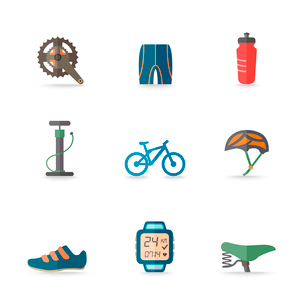 Bicycle bike sport fitness flat icons set with hand pump seat helmet isolated vector illustrationのイラスト素材 [FYI03092484]