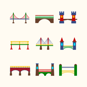 Bridge architecture city landmark harbor construction flat icon set isolated vector illustrationのイラスト素材 [FYI03092485]