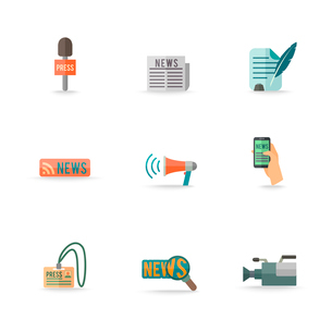 Social media mobile  press center reporter symbols emblems design pictograms collection isolated icoのイラスト素材 [FYI03092486]