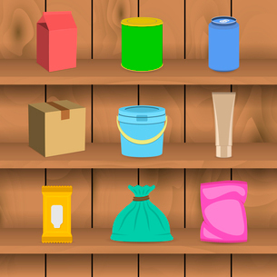 Pack paper carton container mockup icon set on a shelf vector illustrationのイラスト素材 [FYI03092488]