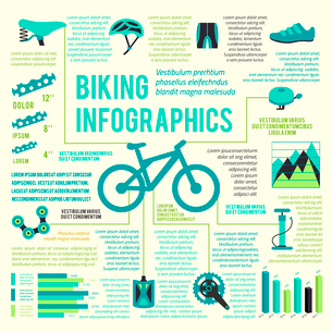 Bicycle bike sport fitness icons infographic set with charts and diagrams vector illustrationのイラスト素材 [FYI03092494]