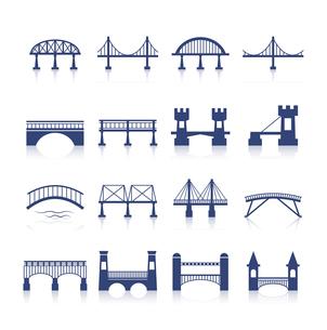 Bridge architecture city landmark silhouette icon set isolated vector illustrationのイラスト素材 [FYI03092495]