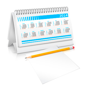 Spiral desk business office calendar planner mockup with pencil and paper sheet vector illustrationのイラスト素材 [FYI03092500]