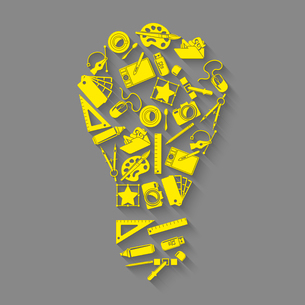 Graphic designer studio tools creative process lightbulb idea concept vector illustrationのイラスト素材 [FYI03092502]