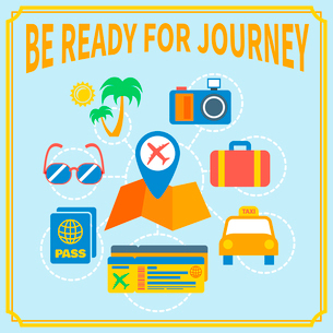 Airport flat concept be ready for journey set of camera glasses suitcase taxi vector illustrationのイラスト素材 [FYI03092506]