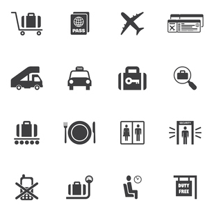 Airport icon set of airplane suitcase security check lounge isolated vector illustrationのイラスト素材 [FYI03092507]