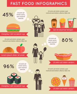 Fast food infographic flat icons set of pizza chocolate apple spaghetti isolated vector illustrationのイラスト素材 [FYI03092509]