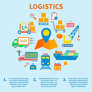 Logistic infographic flat icons set with map pin vector illustrationのイラスト素材 [FYI03092510]