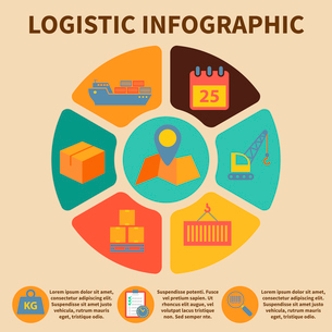 Logistic freight service infographic icons set on pie chart vector illustrationのイラスト素材 [FYI03092512]