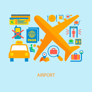 Airport flat concept set of airplane taxi passport ticket icons vector illustrationのイラスト素材 [FYI03092513]