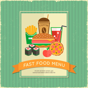 Retro fast food menu poster with ribbon and sandwich french fries drink vector illustrationのイラスト素材 [FYI03092514]