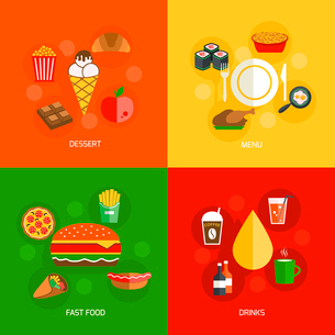 Fast food dessert menu drinks icons flat composition isolated vector illustrationのイラスト素材 [FYI03092515]