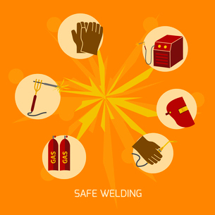 Welder industry construction work protection safety elements concept flat icons vector illustrationのイラスト素材 [FYI03092521]