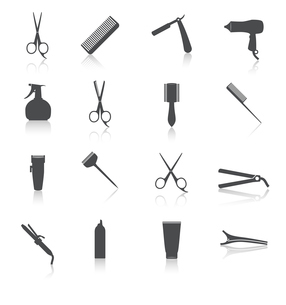 Hairdresser  styling accessories professional haircut icon set isolated vector illustrationのイラスト素材 [FYI03092522]