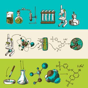 Decorative scientific global chemistry research equipment symbols and molecule formulas doodle sketcのイラスト素材 [FYI03092527]