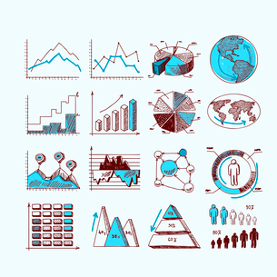 Sketch business diagram charts progress statistics investment concepts isolated doodle vector illustのイラスト素材 [FYI03092534]