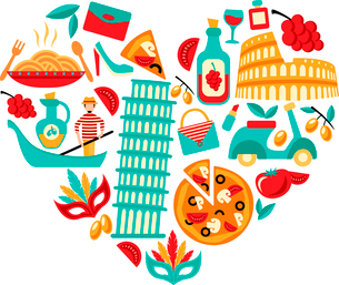 Italy decorative elements icons set in heart shape vector illustrationのイラスト素材 [FYI03092538]