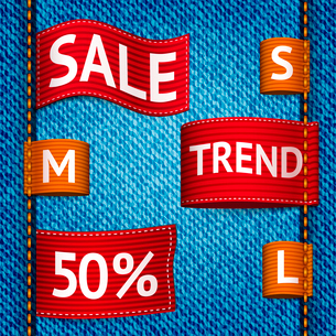 Clothing size trend sale colored label ribbon set on denim background vector illustrationのイラスト素材 [FYI03092540]