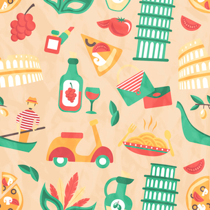 Italy seamless pattern with wine glass gondola olive oil vector illustrationのイラスト素材 [FYI03092543]