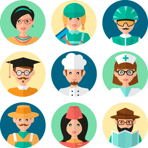 Faces avatar icons profession occupation job set flat isolated vector illustrationのイラスト素材 [FYI03092544]
