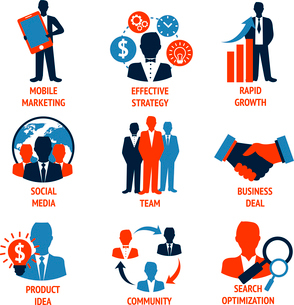 Business people meeting managements icons set of mobile marketing effective strategy rapid growth isのイラスト素材 [FYI03092546]