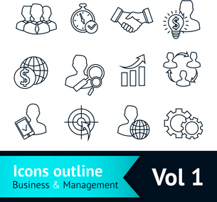 Business and managements outline icons set of handshake goal deal and idea isolated vector illustratのイラスト素材 [FYI03092547]