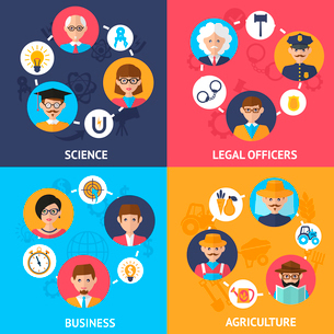 Teamwork people group decorative icons science legal officers business agriculture set flat isolatedのイラスト素材 [FYI03092549]