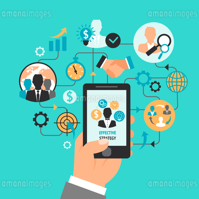 Hand holding smartphone and business and management icons effective strategy concept vector illustraのイラスト素材 [FYI03092550]