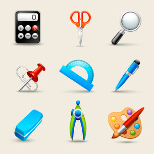 Realistic school education icons set of scissors magnifier eraser isolated vector illustrationのイラスト素材 [FYI03092553]