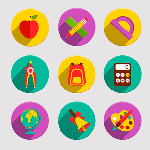 Flat school education icons set of apple stationery angle protractor isolated vector illustrationのイラスト素材 [FYI03092554]