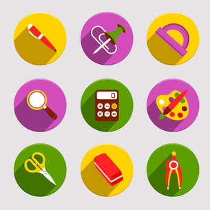 Flat school education icons set of pen color palette eraser isolated vector illustrationのイラスト素材 [FYI03092556]