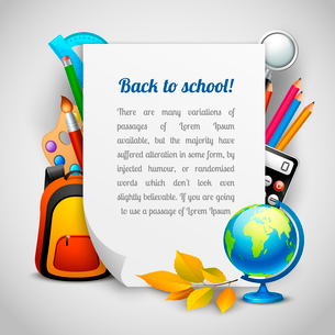 Back to school background with education elements and paper sheet vector illustrationのイラスト素材 [FYI03092558]