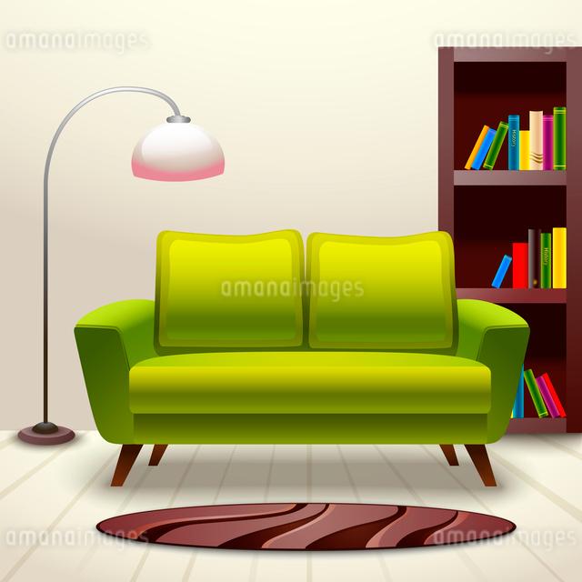 Interior indoor living room design with sofa lamp and bookshelf vector illustrationのイラスト素材 [FYI03092561]