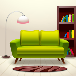 Interior indoor living room design with sofa lamp and bookshelf vector illustrationのイラスト素材 [FYI03092561]