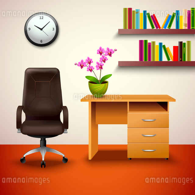 Interior indoor cabinet design with desk office chair and bookshelf vector illustration.のイラスト素材 [FYI03092565]