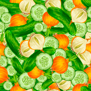 Vegetable organic food seamless background with cucumber and onions vector illustrationのイラスト素材 [FYI03092571]