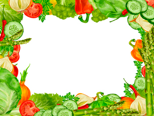 Vegetable organic food frame set of chili pepper broccoli cucumber vector illustration.のイラスト素材 [FYI03092573]