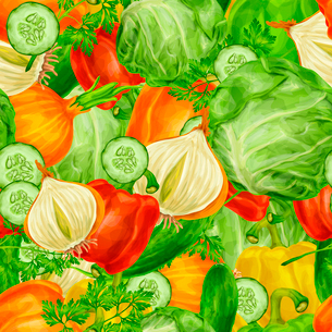 Vegetable organic food mix seamless background with cabbage parsley paprika vector illustration.のイラスト素材 [FYI03092575]
